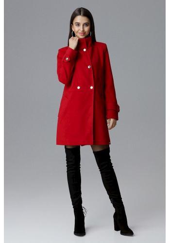 Červený klasický kabát se stojícím límcem pro dámy ve výprodeji