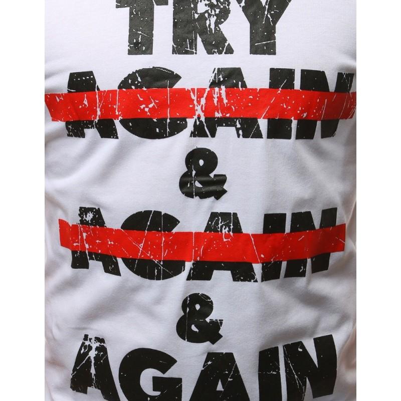 Stylové pánské tričko bílo-šedé barvy s potiskem