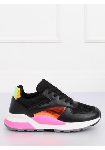 Sportovní dámské tenisky černé barvy s holografickými vložkami