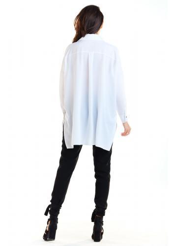 Bílá oversize košile s dlouhým rukávem pro dámy