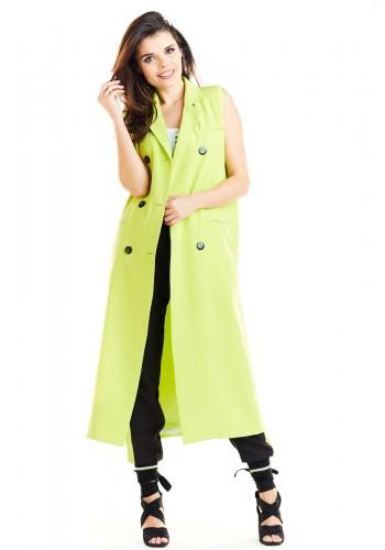 Limetková dlouhá vesta se zapínáním na knoflíky pro dámy