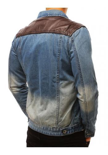 Riflová pánská bunda modré barvy s teplákovými rukávy
