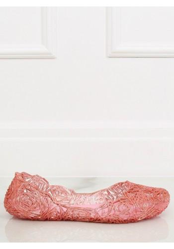 Tmavě růžové gumové balerínky s jemným vyvýšením pro dámy