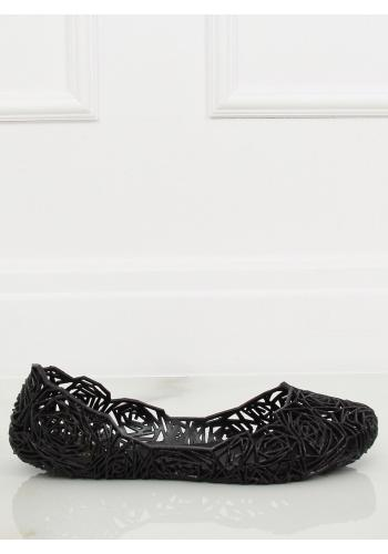 Gumové dámské balerínky černé barvy s ažurovým vzorem