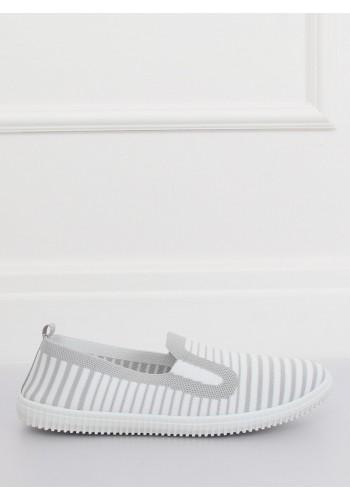Dámské proužkované mokasíny s bílou podrážkou v modro-bílé barvě