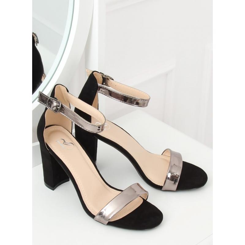 9ab42af685d7 Černé metalické sandály na stabilním podpatku pro dámy - dokonalamoda.cz
