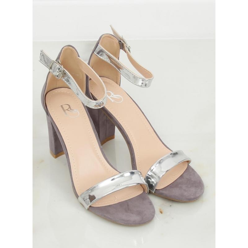 8bf30d6ec97d Dámské metalické sandály na stabilním podpatku v šedé barvě ...