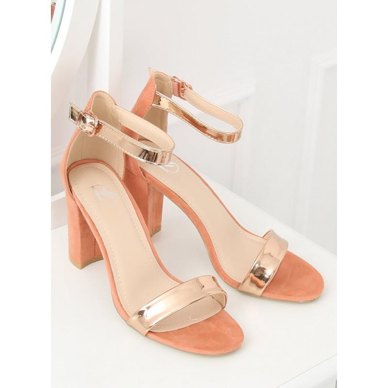 0650f8ef6815 Metalické dámské sandály růžové barvy na stabilním podpatku ...
