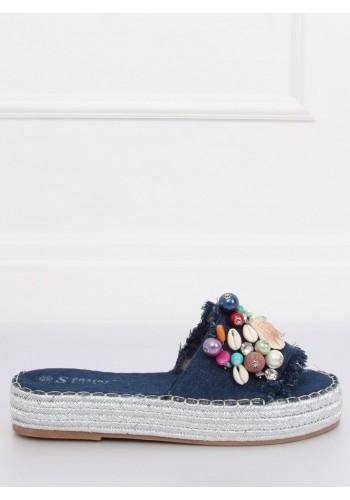 Bílé zdobené pantofle na vysoké metalické podrážce pro dámy