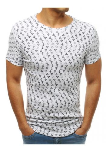 Bílé módní tričko s motivem kotvy pro pány