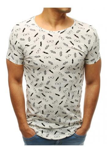 Bílé bavlněné tričko s potiskem pro pány