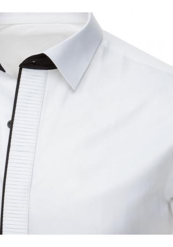 Pánská smokingová košile s plisováním v bílé barvě
