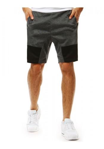 Teplákové pánské kraťasy černé barvy s kontrastními pásy