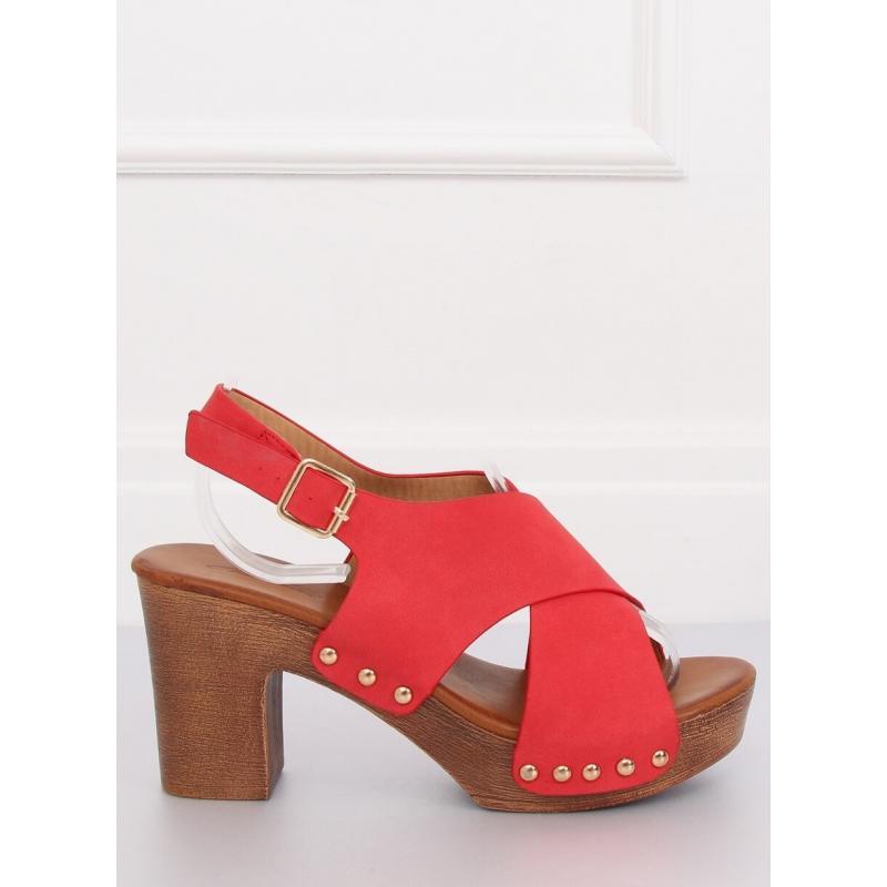 c57538e0cae6 Dámské pohodlné sandály na stabilním podpatku v červené barvě. Novinka.  Růžové pohodlné sandály na stabilním podpatku pro dámy