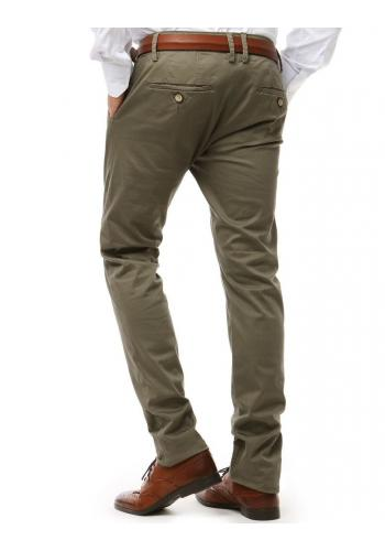 Pánské elegantní kalhoty Chinos v zelené barvě