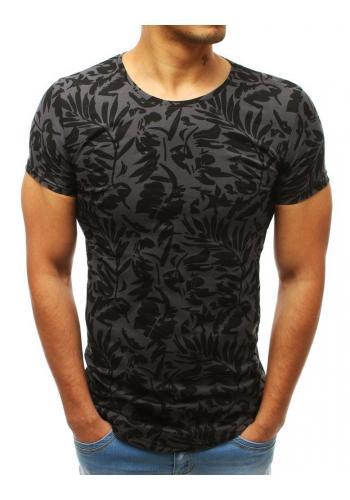 Stylové pánské tričko tmavě šedé barvy s potiskem