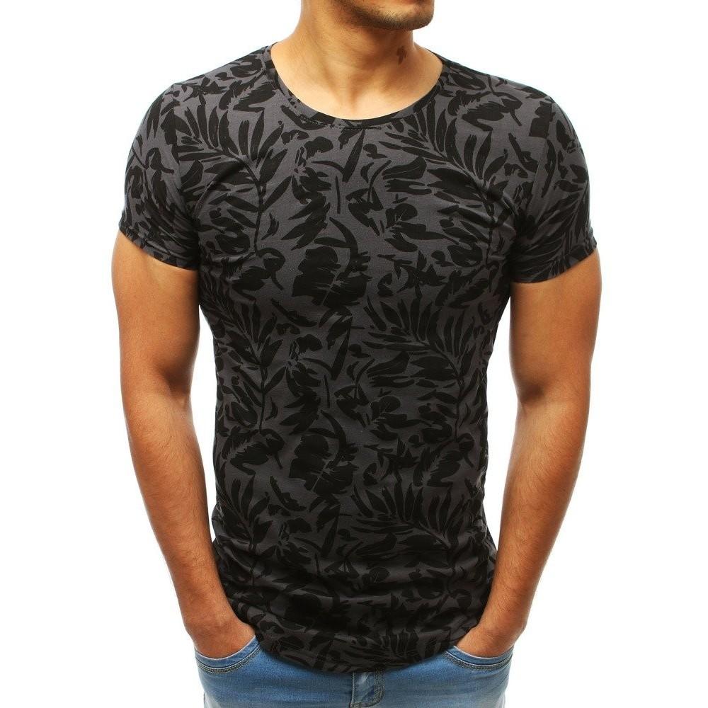 2486110db323 Stylové pánské tričko tmavě šedé barvy s potiskem - dokonalamoda.cz