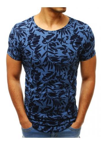 Modré bavlněné triko s potiskem pro pány
