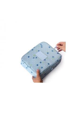 Dámská kosmetická taška s motivem plameňáků v modré barvě