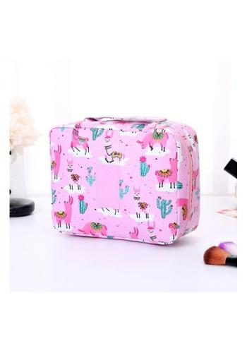 Kosmetická taška růžové barvy s potiskem