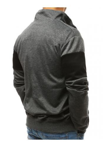 Módní pánská mikina černé barvy s kontrastními vložkami