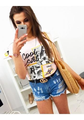Malinové módní tričko s potiskem pro dámy