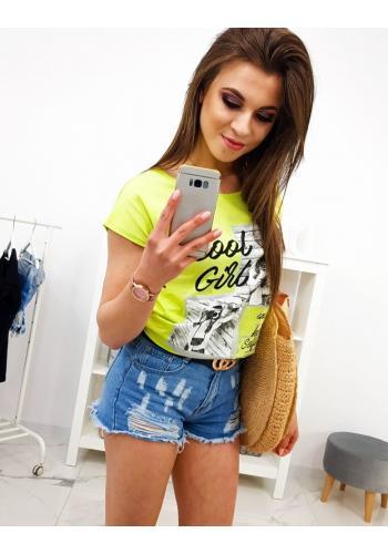 Dámské módní tričko s potiskem ve smetanové barvě