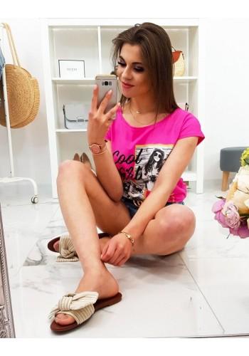 Dámské módní tričko s potiskem v limetkové barvě