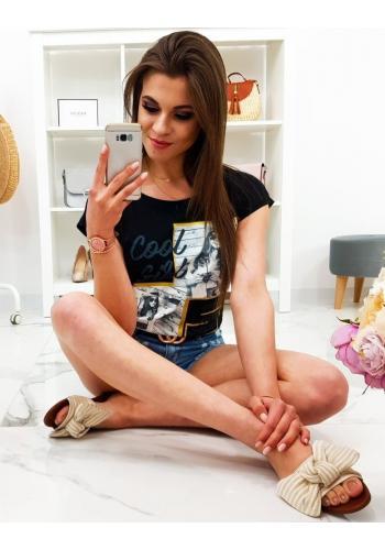 Módní dámské tričko modré barvy s potiskem