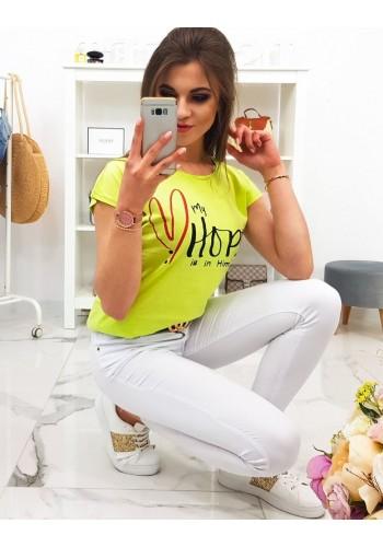 Smetanové bavlněné tričko s potiskem pro dámy