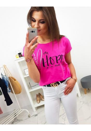Limetkové bavlněné tričko s potiskem pro dámy