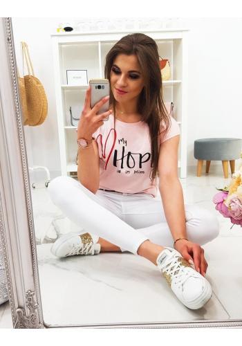 Dámské bavlněné tričko s potiskem v bílé barvě