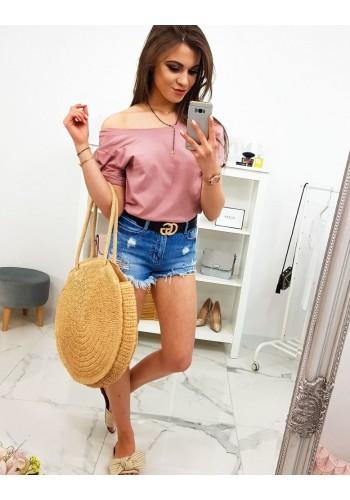 Dámské bavlněné tričko s potiskem v pastelově růžové barvě
