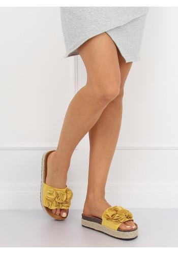 Černé azurové pantofle na nízké platformě pro dámy