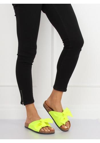 Růžové neonové pantofle na korkové podrážce pro dámy