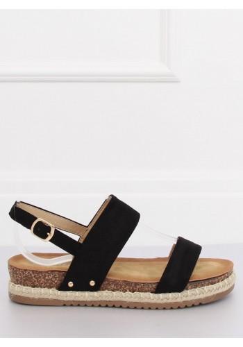 Dámské semišové sandály na nízkém podpatku v černé barvě