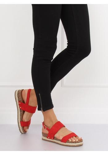 Dámské semišové sandály na korkové podrážce v černé barvě