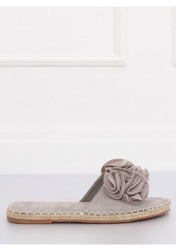 Semišové dámské pantofle šedé barvy s barevnými květy