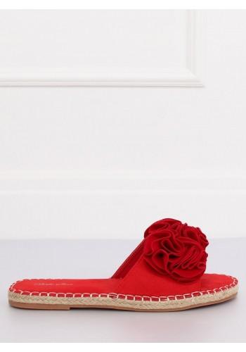 Semišové dámské pantofle šedé barvy s květinami