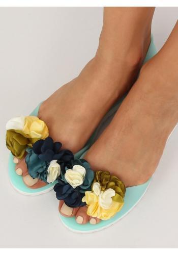 Dámské gumové balerínky s květinami v černé barvě