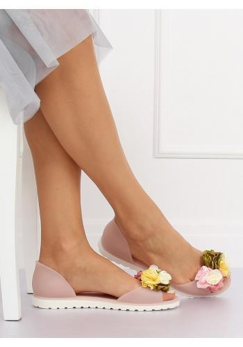 Růžové gumové balerínky s květinami pro dámy