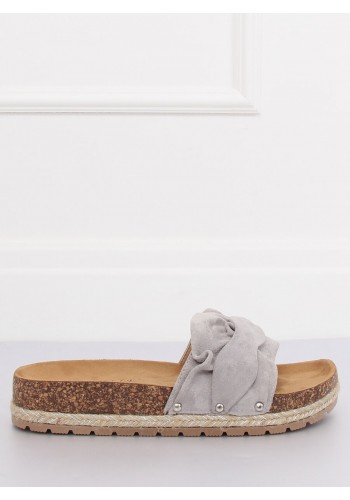 Semišové dámské pantofle černé barvy na korkové podrážce
