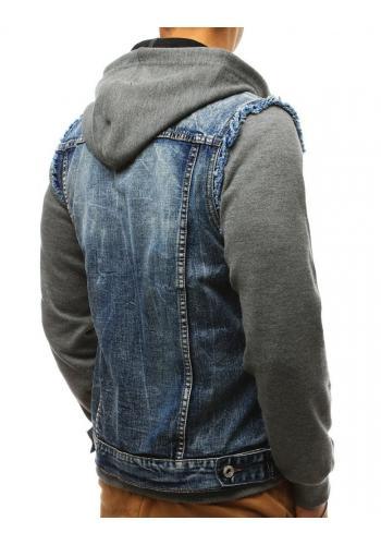 Pánská riflová bunda s dírami v tmavě šedé barvě