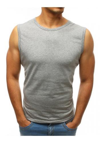 Světle šedé klasické triko bez rukávů pro pány