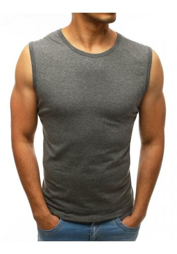 Pánské klasické trička bez rukávů v tmavě šedé barvě