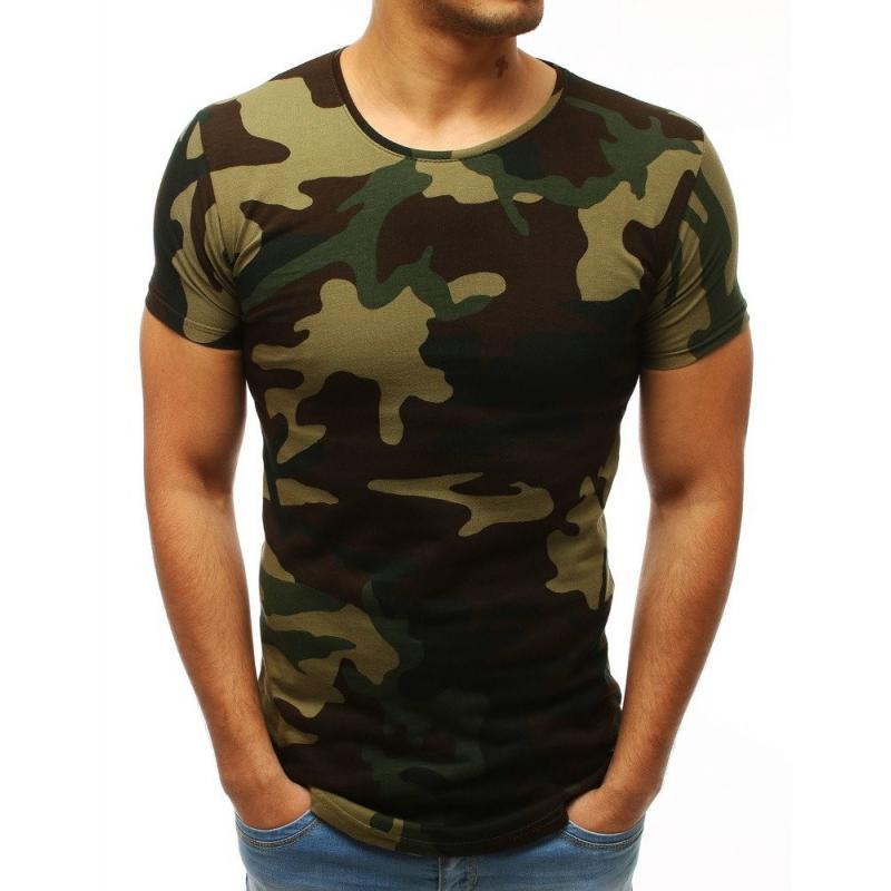 687a33820b05 Maskáčové pánské tričko hnědo-zelené barvy s krátkým rukávem ...