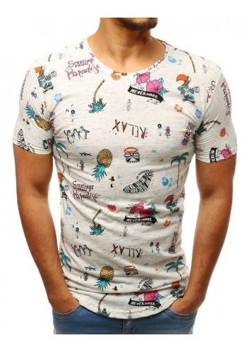 Bílé stylové tričko s barevným motivem sluchátek pro pány