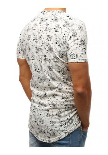 Pánské bavlněné tričko s potiskem v bílé barvě