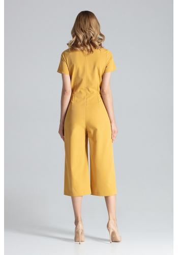 Elegantní dámský overal hnědé barvy se širokými nohavicemi
