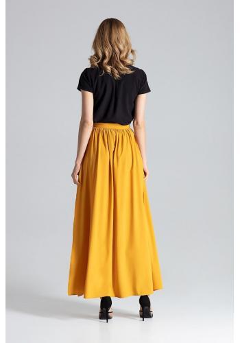 Dámská dlouhá sukně s nařasením v pase v korálové barvě